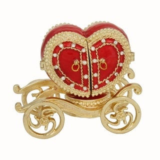 Versil Red Pewter Heart Shaped Carriage Trinket Box with Ring Insert