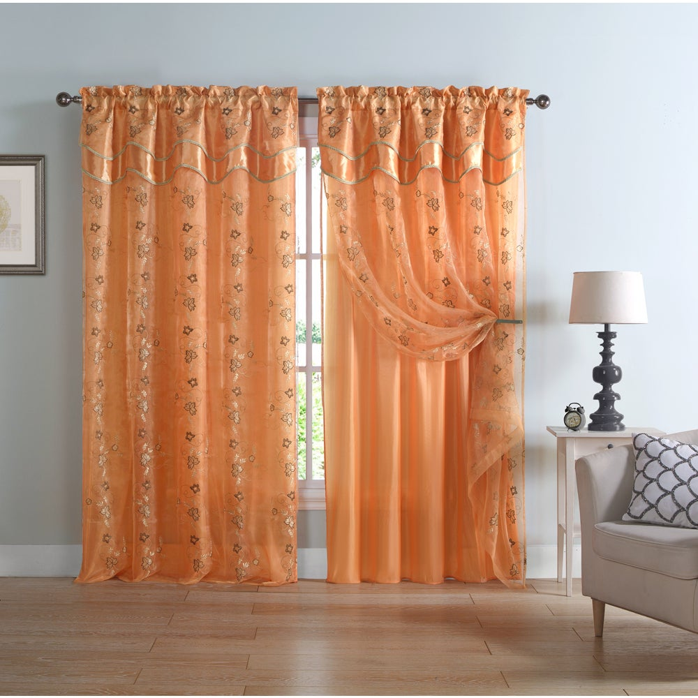 Vcny Charlize Embroidered Curtain Panel with Attached Val...