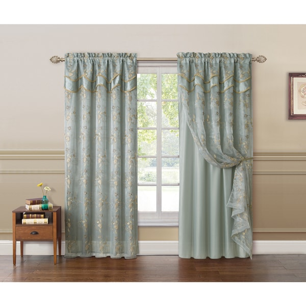 charlize embroidered curtain panel with attached valance and backing
