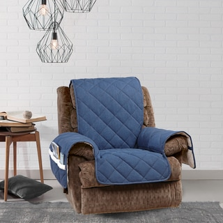 Sure Fit Quilted Denim Sherpa Recliner Furniture Protector