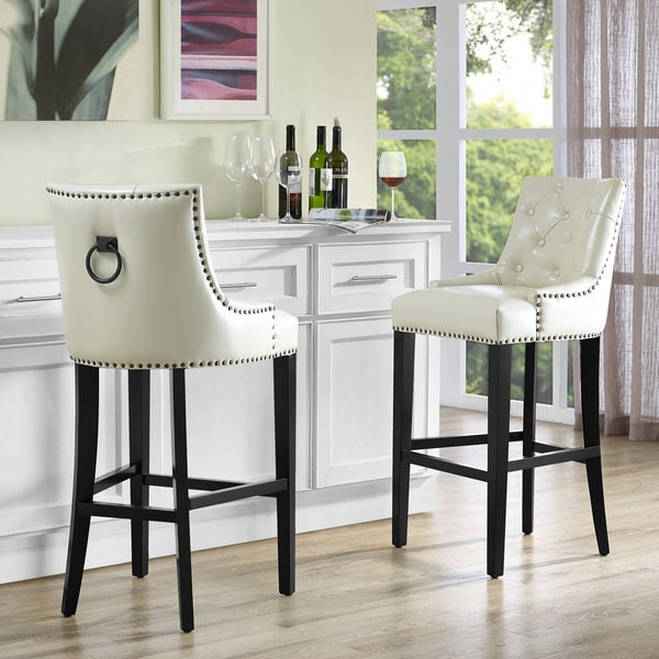 Uptown Cream Leather Counter Stool Free Shipping Today