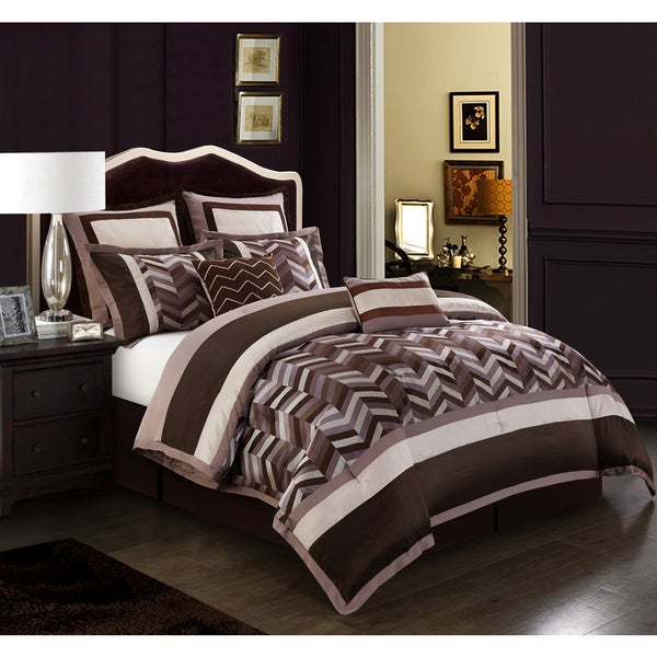 Nanshing Jonathan Purple/ Brown Chevron 8-piece Reversible Comforter Set
