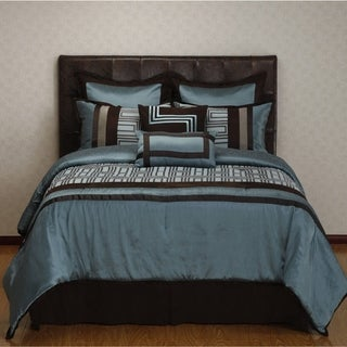 Nanshing Maze Blue/ Brown Geometric 8-piece Reversible Comforter Set