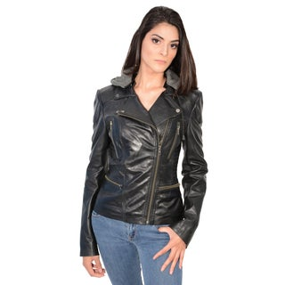 Women's Lambskin Leather Jacket with Asymmetrical Zipper