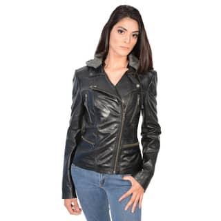 Women's Lambskin Leather Jacket with Asymmetrical Zipper|https://ak1.ostkcdn.com/images/products/11142728/P18141378.jpg?impolicy=medium