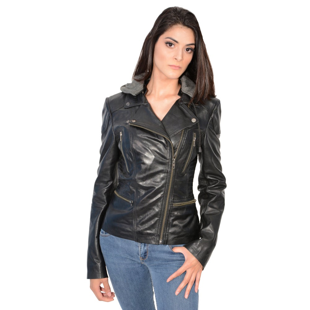 Womens Lambskin Leather Jacket with Asymmetrical Zipper