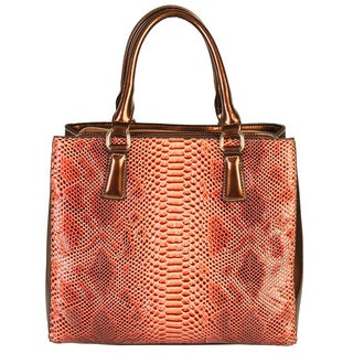 Rimen and Co. Crocodile Texture Patent Leather Handbag