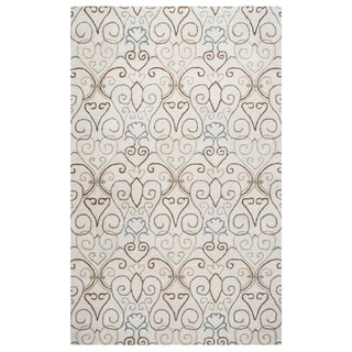 Rizzy Home Palmer Collection Ivory Ornamental Area Rug (5' x 8')