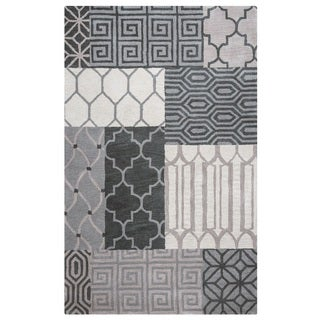 Rizzy Home Palmer Collection Grey Patchwork Area Rug (5' x 8')
