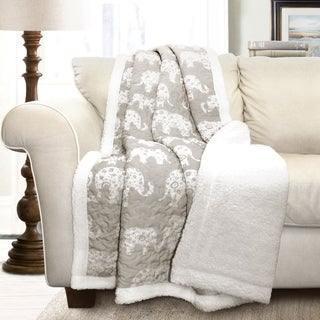 Lush Decor Elephant Parade Soft Sherpa Throw