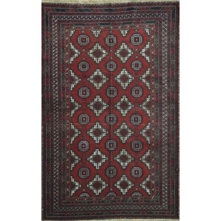 Hand-knotted Afghan Baloochi Wool Rug (4' x 6'2)