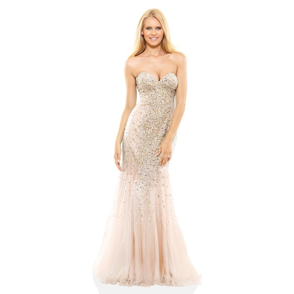 Shop Terani Couture Strapless Beaded And Tulle Prom Gown