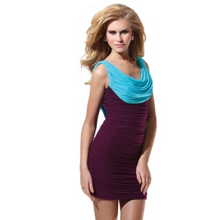 Terani Couture Two-tone Ruched Short Homecoming Dress