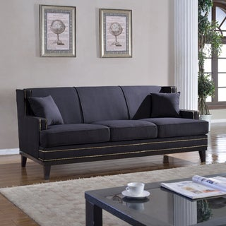 Classic Traditional Sophisticated Soft Linen Fabric Sofa with Nailhead Details