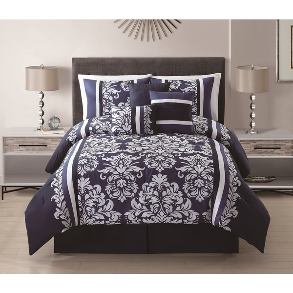Taylor 7-piece Navy Embroidered Floral Medallion Comforter Set