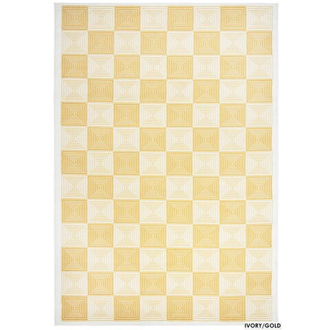 """Rizzy Home Glendale Collection Power-loomed Ivory Checkered Area Rug (6'7 x 9'6) - 6'7"""" x 9'6"""""""