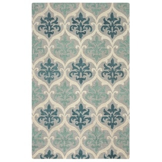 Rizzy Home Lancaster Collection Hand-tufted Blue Trellis Area Rug (5' x 8')