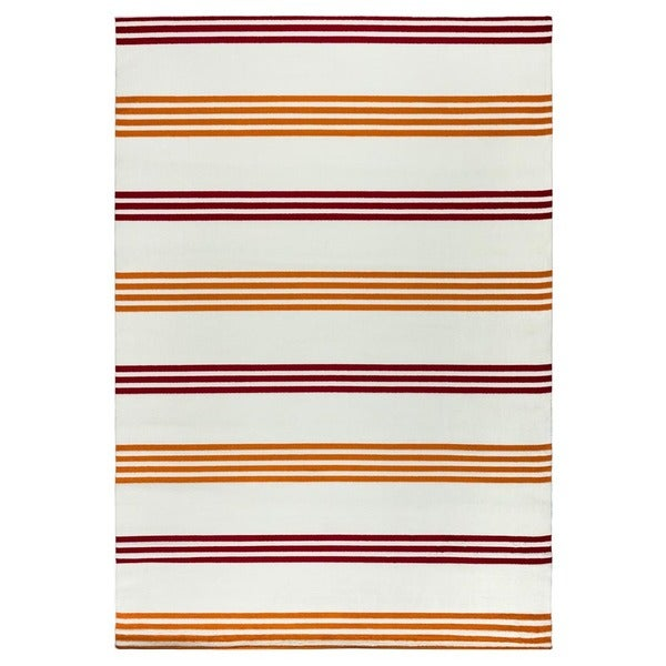 """Rizzy Home Glendale Collection Power-loomed Ivory Stripe Area Rug (5'3 x 7'7) - 5'3"""" x 7'7"""""""