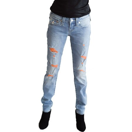 True Religion Women's Ripped Skinny Jeans Embellished with Austrian Crystal