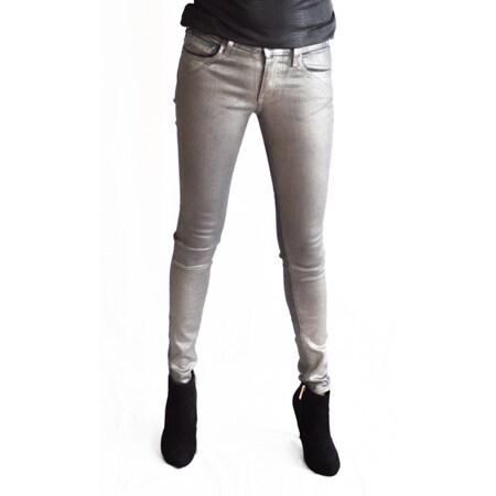 True Religion Women's Halle Metallic Coated Gunmetal Super Skinny Jeans (Size 23)