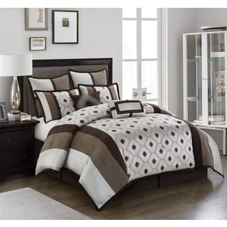 Nanshing Grayson Silver/ Brown Geometric 8-piece Reversible Comforter Set