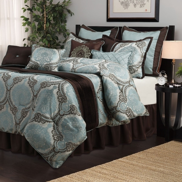 Nanshing Sofia Aqua/ Brown Medallion 8-piece Comforter Set