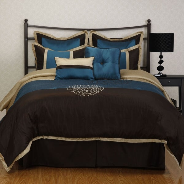 Nanshing Phoebe Brown Embroidered 8-piece Comforter Set