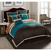 Nanshing Phoebe Brown Embroidered 8-piece Comforter Set
