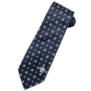 Versace 100-percent Italian Silk Dark Blue/ White Circles Neck Tie