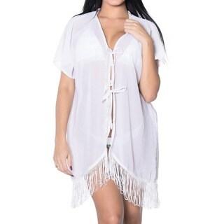 La Leela Chiffon LightWeight Kaftan Swimsuit Robe Beach Kimono Bikini Cover up White