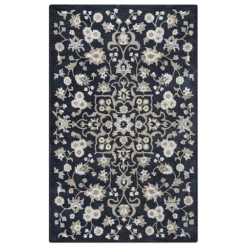 Liberty Collection Black Floral Rug