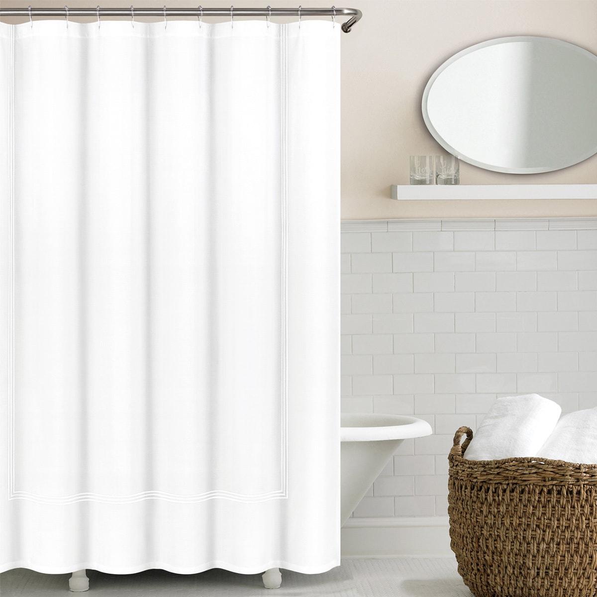Echelon Home Three Line Hotel Collection Matelasse Shower Curtain