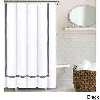 Echelon Home Three Line Hotel Collection Matelasse Shower Curtain (Option: Black)