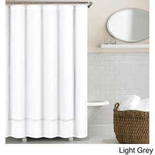 Echelon Home Three Line Hotel Collection Matelasse Shower Curtain Option Light Grey