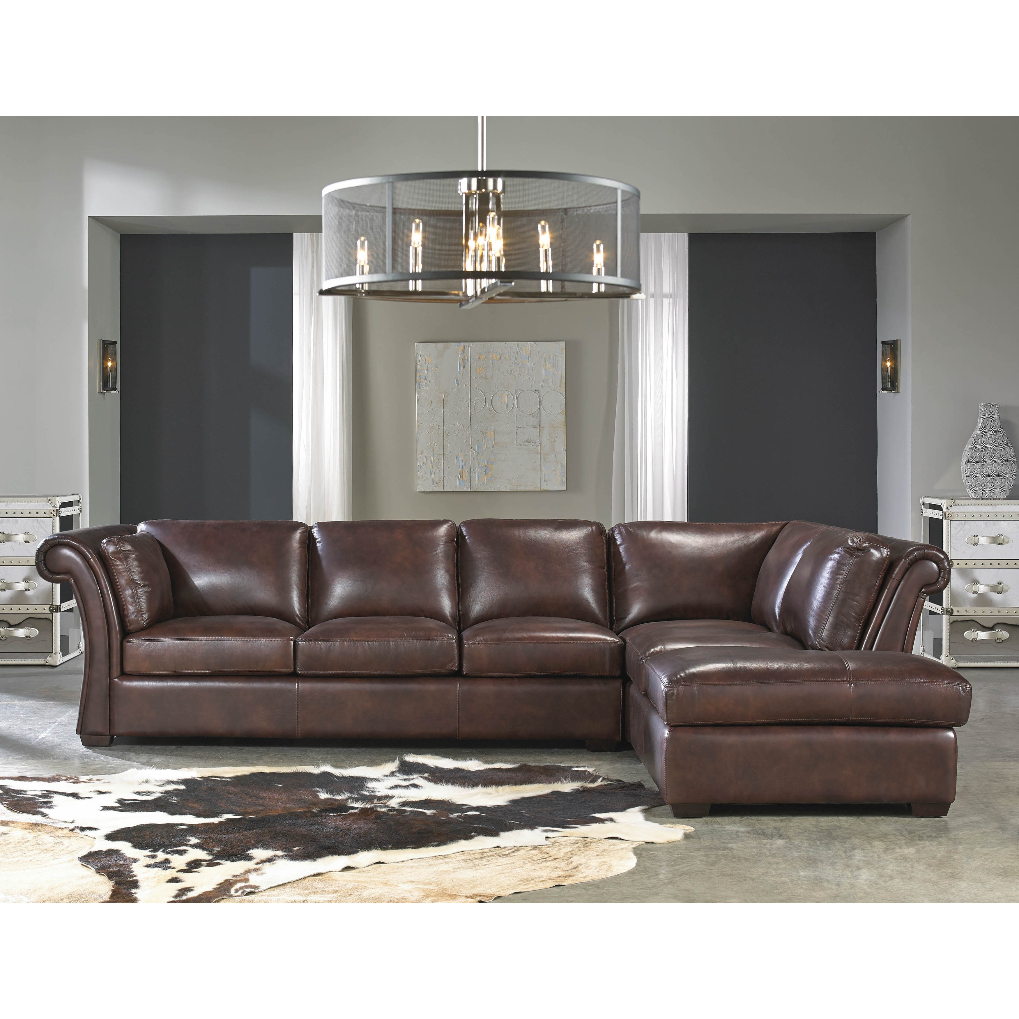 - Shop Lazzaro Leather Angelina Rustic Sauvage Two Piece Sectional