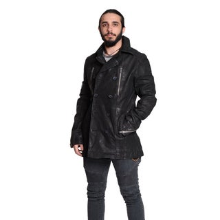 Excelled Men's Sueded Leather Peacoat