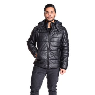 Excelled Men's Faux Leather Quilted Puffer