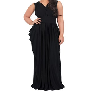 Koh Koh Women's Plus Size Sleeveless V-Neck Elegant Full Length Pleated Maxi Dress