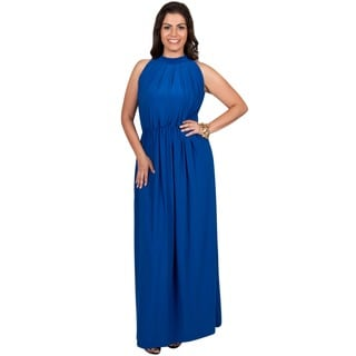 KOH KOH Women's Plus Size Slimming Key Hole Halter Style Sleeveless Full Length Cocktail Gown