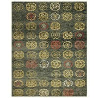 Grand Bazaar Hand-knotted Wool and Art Silk Qing Area Rug in Loden - 8'6 x 11'6