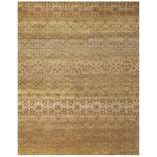 Grand Bazaar Hand-knotted 100-percent Wool Pile Verdigris Rug in Gold Multi (2' x 3')