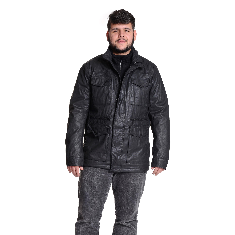 Excelled Men's Six Pocket Coated Cotton Black Jacket (Bla...