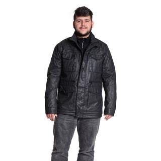 Excelled Men's Six Pocket Coated Cotton Black Jacket