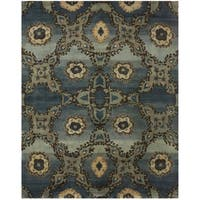 Grand Bazaar Hand-knotted 100-percent Wool Pile Amzad Rug in Azure (2' x 3') - 2' x 3'