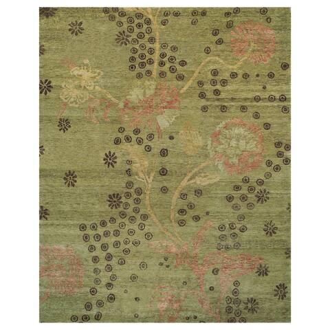 Grand Bazaar Cordonnet Green Wool Hand-knotted Rug - 4' x 6'