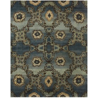 Grand Bazaar Hand-knotted 100-percent Wool Pile Amzad Rug in Rust, (4' x 6') - 4' x 6'