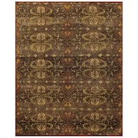 "Grand Bazaar Hand-knotted 100-percent Wool Pile Amzad Rug in Brown (5'6 x 8'6) - 5'-6"" x 8'-6"""
