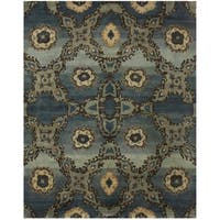 """Grand Bazaar Hand-knotted 100-percent Wool Pile Amzad Rug in Rust (5'6 x 8'6) - 5'6"""" x 8'6"""""""