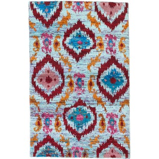 ecarpetgallery Blue and Red Sari Silk Rug (5 x 8)