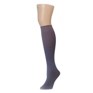 Memoi Women's Horizontal Zag Opaque Knee High